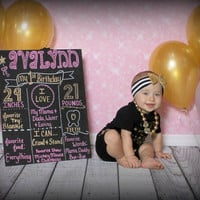 first birthday chalkboard, girl birthday sign, custom chalkboard, birthday sign, 1st birthday, chalkboard poster,pink and gold chalkboard