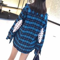 """Chrome Hearts"" Women Casual Personality Stitching Leather Pattern Cardigan Long Sleeve Multicolor Tartan Shirt Tops"
