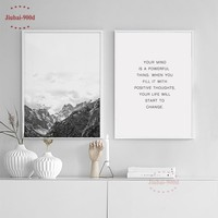 900d Nordic Style Posters And Prints Mountain Canvas Art Painting Poster, Wall Pictures for Home Decoration, Wall Decor BW002