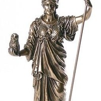 Athena Minerva Greek Roman Goddess of War Holding Owl Statue Bronze Finish 14H