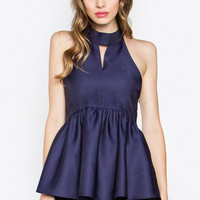 Mock Neck Peplum Top