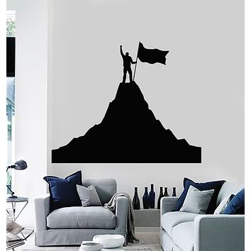 Vinyl Wall Decal Victory Mountain Flag Adventure Extreme Sports Inspirational Stickers Mural (g3108)