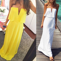 Strapless Maxi Dress Sexy Elegant Chiffon Dress White/yellow ZB1900 = 5738897921