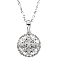 Sterling Silver Floral Filigree diamond Necklace