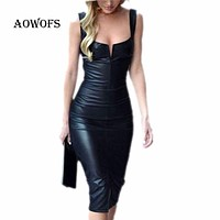 AOWOFS New 2017 Fashion Women Bandage Bodycon Sheath Sleeveless Club Party Short Leather Dress boat neck sleeveless dresses