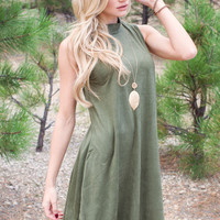 Blaire Suede Dress - Olive