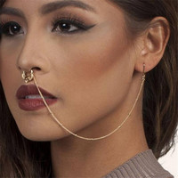 Nose Rings Studs and Ear Chain Women Body Piercing Jewelry Nose Hoop Punk Style
