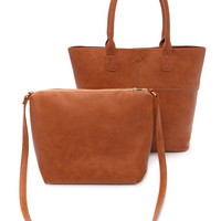 2-in-1 Faux Leather Tote Bag | Forever 21 - 1000185658