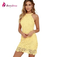 Berydress Womens Elegant Wedding Party Halter Neck Sleeveless Sheath Bodycon Lace Dress Short
