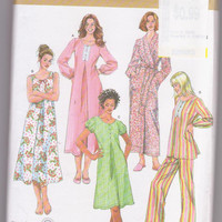 Pattern for pleated nightgown in knee/calf length with sleeve variations, pajamas, wrap robe misses size 8 10 12 14 16 Simplicity 3636 UNCUT