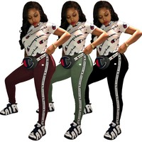 Plus Size Casual 2 Piece Set Tracksuit Rompers Short Sleeve Letter Print Shirts Tight Pant Jumpsuit Women Long Skinny Overall