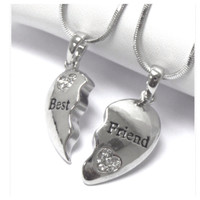 """""""Friends Forever"""" Best Friend Rhinestone Accented Dual Necklace Set"""
