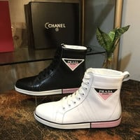 Prada Calf leather high-top sneakers