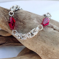 Ruby Swarovski Crystal and Silver Byzantine Bracelet - Ready to Ship