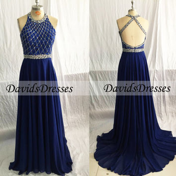 Blue Long Prom Dress, Halter Backless Beaded A-line Prom Dresses 2016