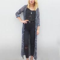 Maxi Kimono in Navy in Geo Navy by Redream - Default Title