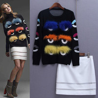 New 2015 autumn winter fashion women girls brand embroidery black novelty eyes sweater tops white mini skirt set two pieces set-in Women's Sets from Women's Clothing & Accessories on Aliexpress.com | Alibaba Group