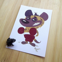 Hyena boxer postcard, Gouache animal illustration,  Cartoon snail mail