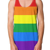 Rainbow Horizontal Gay Pride Flag Loose Tank Top Single Side All Over Print by
