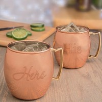 """Cathy's Concepts """"For the Couple"""" Moscow Mule Copper Mug Set - Brown (Set of 2)"""