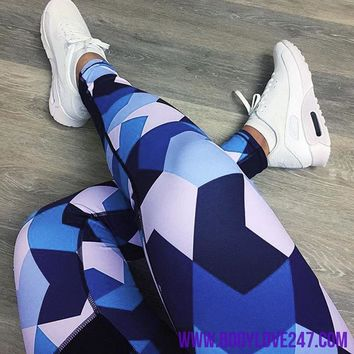 Blue Patchwork Sports Gym Running Yoga Legging Fitness Pants