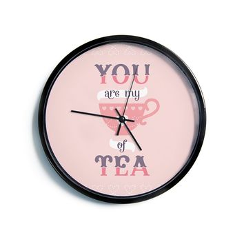"Daisy Beatrice ""My Cup of Tea"" Pink Purple Modern Wall Clock"