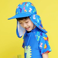 Panegy Outdoor Sport Hiking Visor Hat Boys Girls Cartoon Sun Hat Ultraviolet-proof Beach Hat Kids Ear Protection Swimming Cap