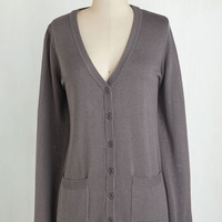 Travel Mid-length Long Sleeve Have a Good Knit Cardigan in Grey