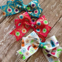 Alice inspired bow trio I'm late and drink me custom ribbon