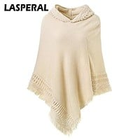 LASPERAL Spring Sweaters Poncho Women cape Knitted christmas sweater Tassel Hooded pullover cloak pullover femme shrug Sweater