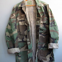 Vintage Camo Military Jacket Shirt Woodland Camouflage 100% Cotton Small Long