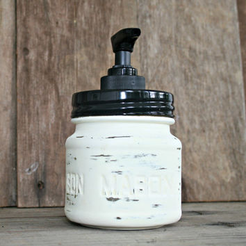 Mason Jar Soap Dispenser - Painted in Old White and Distressed - Rustic, Country, Shabby Chic, Farmhouse, Vintage Style