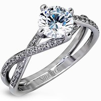 Simon G. Twist Split Shank Diamond Engagement Ring