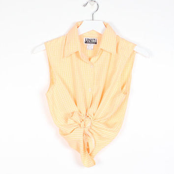 Vintage 90s Shirt Golden Yellow White Check Grid Plaid Button Down Shirt Sleeveless Top 1990s Soft grunge Lightweight Picnic Top XS S Small