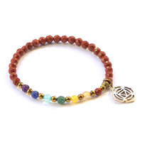 Root Chakra Delicate Bracelet, with Chakra Gemstones and Red Jasper