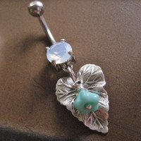 Leaf Mint Green Flower Opal Belly Button Ring Jewelry Piercing Bar Lily Turquoise Teal Navel Barbell