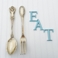 Large Spoon and Fork - Kitchen Decor - Kitchen Wall Hanging - Eat Sign - Utensil Decor - Eat Letters