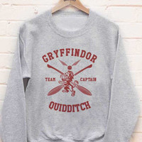 Gryffindor Quidditch team Captain MAROON print on Light steel color Crew neck Sweatshirt