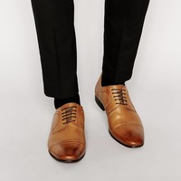 ASOS Derby Shoes in Tan Leather With Toe Cap
