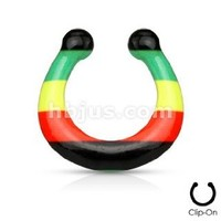 Fake Septum Rasta Striped Print Non Piercing Fake Septum Hanger