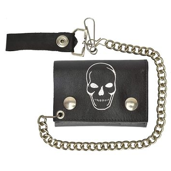Chain Genuine Leather Trifold Wallet Skull Imprint 946-28 (C)