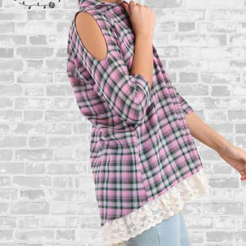 Lace Trim Plaid Button Up Shirt - Pink - Small only