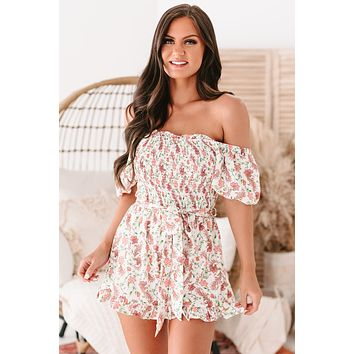 Grateful Hearts Smocked Puff Sleeve Floral Romper (Ivory)