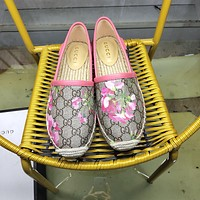 GUCCI Women's Canvas and Straw Fisherman Shoes