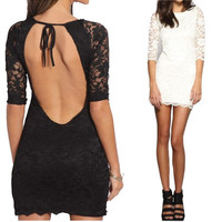 Backless Bandage BodyCon Lace Sexy Party mini Dresse