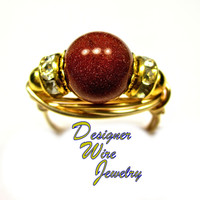 DWJ0290 Stunning Gold Sand Solitaire Gold Wire Wrap Ring All Sizes