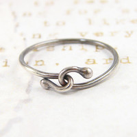 Sterling Silver Oxidized Rustic Infinity Ring Simple Stacking Jewelry for Her