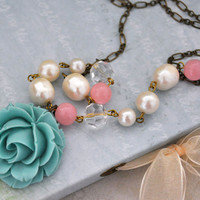 Once There's A Blue Flower, resin flower antiqued brass necklaces with vintage faux pearl beaded chain
