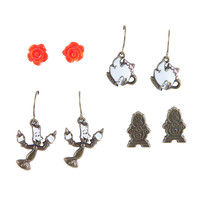 Disney Beauty And The Beast Characters Earrings Set