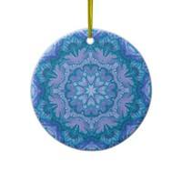 Turquoise and Lavender Victorian Floral Ornament